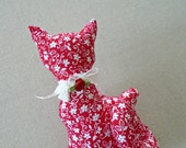 Valentine Kitty cat Pillow / Cat Shaped Pillow / Decorative Cat Pillow / Red Floral Fabric / Shelf Sitter Cat / Cat Decor / Fat Tail Cat