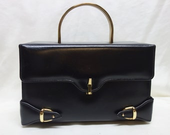 Vintage 60s CAPRICE Black Leather Box Purse with Metal Handle