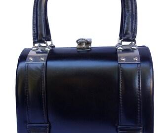 TANO of Madrid Vintage 60s Petite Black Leather and Chrome Handbag