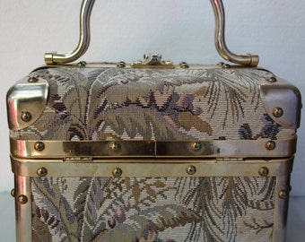 BORSA BELLA Vintage 50s Tapestry Box Purse Train Case Italy  SOLD!