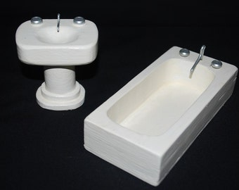 Vintage 1950's Wooden Doll House Tub and Sink Fixtures - White Glossy Enamel Bathtub White Enamel Bathroom Sink - Play Toy Decor Decoration