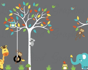 Kids jungle animals decals, tree wall decal, decal owls, bright colors decals