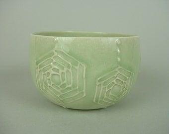 Folk Art green Thrown Deep Bowl - your choise from Hexagon or Flower Pattern