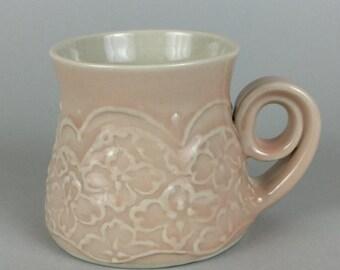 Pink Mug - Curly Handle