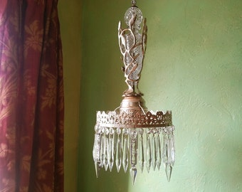 Chandelier, Woodland Crystal and Silver, One of a Kind