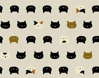 Neko II - Cats Faces Cream from Quilt Gate USA