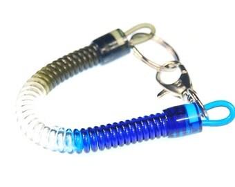 Spiral keychains spiral rubber key chain purse brown white blue