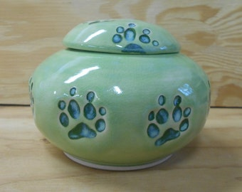 READY to SHIP - Lime Green Dog Urn with Walking Paws