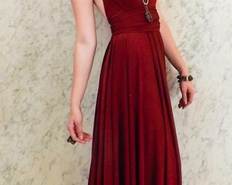 """RESERVED for Melodie's Bridal Party  - 4 Custom Princess """"Infinity"""" Dresses in Burgundy Venezia"""