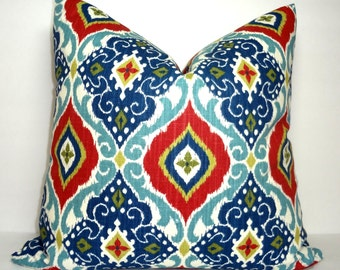 Red & Blue Ikat Print Pillow Cover Decorative Diamond Floral Ikat Design Pillow Cover Size 18x18