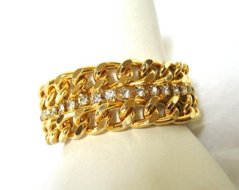 Vintage Rhinestone Bracelet, Wide Curb Chain, Well Made, Gold Tone, Clear Rhinestones, 1980's, Summer Sparkle, Bling, Gift Idea, Excellent