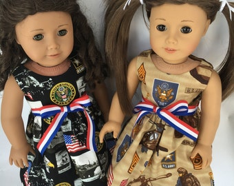 18  inch doll dress, US Army doll dress, US Army dress, made to fit 18 inch dolls such as American Girl and similar 18 inch dolls