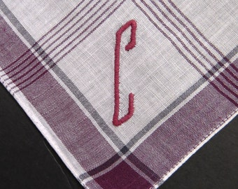 Vintage Mens Handkerchief Hanky - Embroidered Monogram Letter Initial C - Burgundy White Stripes - Mens Accessories Fashions - Gift