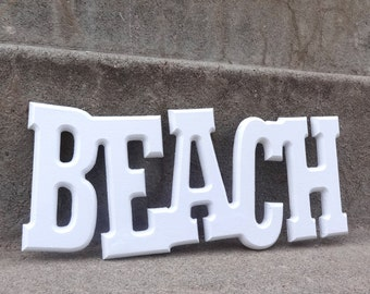 BEACH  White Painted Upcycled Wood Wall Hanging Beach Cottage Coastal Shabby Chic
