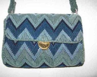 Vintage Blue 4-tone Woven Purse Geometric Pattern Japan 8 x 6 x 3