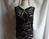 Crochet Top in Black - Boho Lacey Chic Pullover Tank - Small