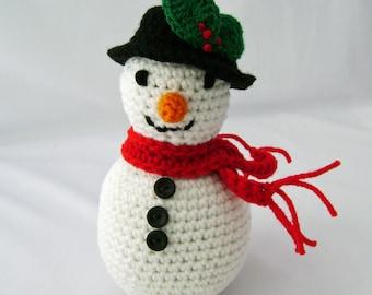 Crocheted Stuffed Snowman Amigurumi ready to ship