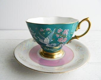 Vintage Teal Pink Mismatched Tea Cup & Saucer - Royal Albert Oriental Teacup and Opalescent Plate