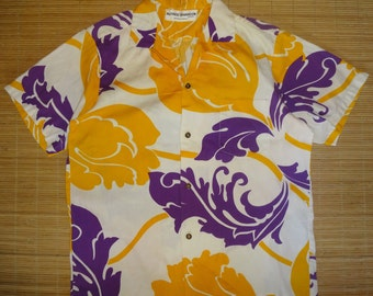 Mens Vintage 70s Alfred Shaheen Hawaii Bark Cloth Hawaiian Aloha Shirt - L - The Hana Shirt Co