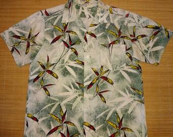 Mens Vintage 50s Malihini Bamboo Hawaiian Shirt - L - The Hana Shirt Co