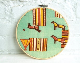Mid Century Modernist Horse Wall Hanging Vintage Fabric 7 Inch Embroidery Hoop Southwestern Minimalist Decor