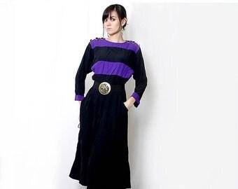 ON SALE Vintage 80s Purple and Black Long sleeve Flowy Dress / Maxi dress