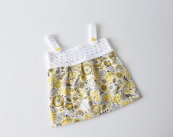 Sundress in yellow and white - newborn - crochet yoke with fabric skirt - organic cotton