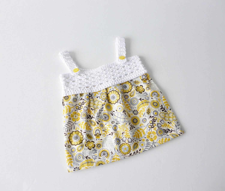 sundress in yellow and white newborn crochet yoke with