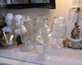 Apothecary jar set 4 piece lidded glass jar set vintage lidded glass wedding candy table party sweet table princess party vintage apothecary