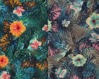 TROPICAL FLOWERS printed viscose elastane jersey