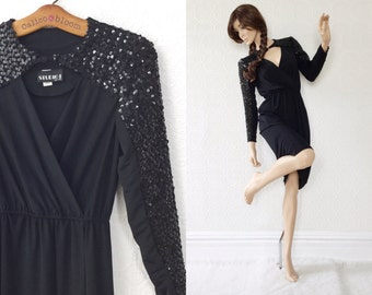 Black Wiggle Dress, Disco, Plunging Neckline with Sequins, V-neck with Sparkles, Disco Diva, size Small, by Studio 1 New York, 1980's