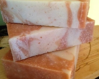 Pink Grapefruit Sea Salt Soap/ Made With Pink Clay