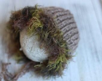 New Born Bonnet,  Eskimo Bonnet, Photo Prop, Baby Boy Bonnet