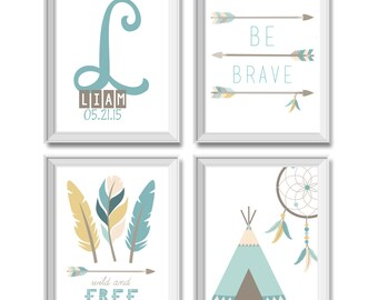 Tribal Nursery Decor, Boy, Tribal Art Prints, Be Brave, Wild and Free, Feathers, Arrows, Tee Pee, Dream Catcher, Dreamcatcher, Name, Mint