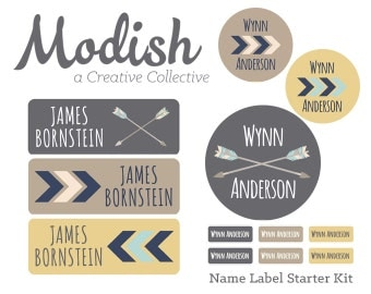 FAST SHIPPING! Boy Name Labels, School Pack, Daycare Pack, Camp Pack, Starter Pack, Waterproof, Dishwasher Safe, Clothing, Tribal Arrows