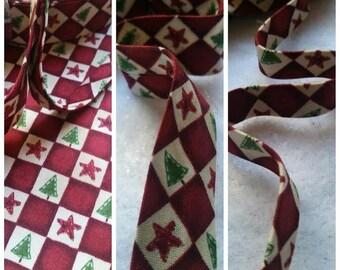 "Folk Christmas Checkers Red 1/2"" Double Fold Bias Tape / 6 Yards Bias Binding Tape"