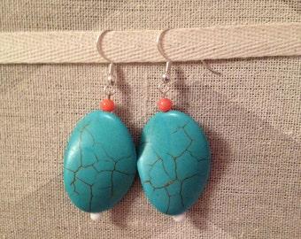 Handmade blue wavy earrings