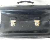 Vintage briefcase, black leather,valise, corporate bag, from Diz Has Neat Stuff