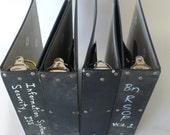 vintage notebooks, 3 ring binders, exposed hinges, group of 4, black, from Diz Has Neat Stuff