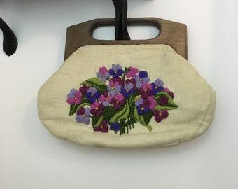 70s Crewel Violet Canvas Handbag