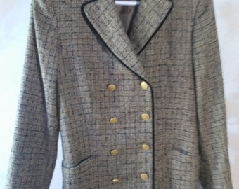 Vintage Wool Tweed Salvatore Ferragamo Skirt Suit Size 42