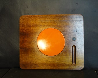 Large Mid Century Modern Teak and Orange Ceramic Cheese Board Tray-Made in Japan