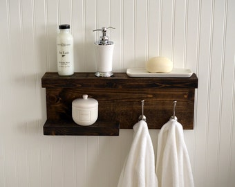 Bathroom Shelf With Metal Hooks - Bath Towel Bar - Modern Rustic Decor - Wall Hanging - Cottage - Bathroom Decor - Industrial - Reclaimed -