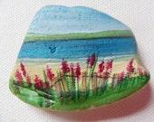 Summer flower beach - Original miniature painting on English sea glass