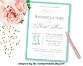 Audrey Bridal Shower Invitation, PRINTABLE Aqua Blue Silver Grey Elegant Wedding Shower, Digital Invite by Event Printables