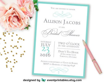 Audrey Bridal Shower Invitation, Aqua Turquoise Robin's Egg Blue Silver Grey Beach Wedding, Printable Digital File by Event Printables
