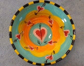 Heart Flowers Wheel Thrown Pottery Bowl
