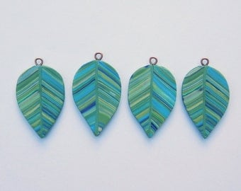 Reserved for Cathy - polymer clay leaf charms, jewelry supply