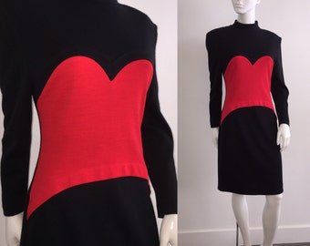 Iconic 1980s Red Heart Patrick Kelly Dress Bust 38