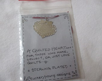 Vintage quilted heart silver heart necklace by Tucker-Young designs NIP new original packaging